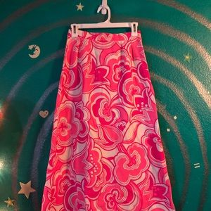60's/70's Neon Pink Psychedelic Maxi Skirt XS